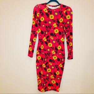 ZARA orange long sleeve midi bodycon dress size S